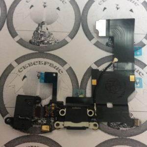 Шлейф для iPhone 5 + разъем зарядки + разъем гарнитуры + микрофон + антенна (черный), Original